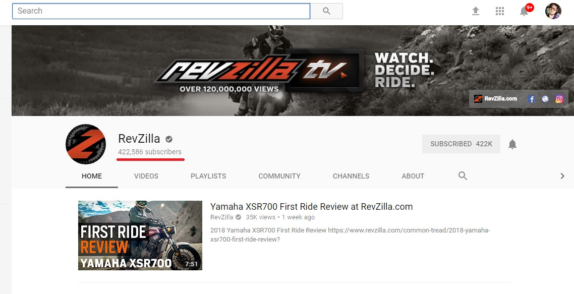 Revzilla Youtube Channel Screenshot- Digikarma