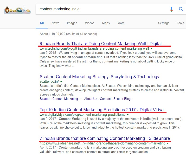 Search content marketing in India Screenshot - Digikarma